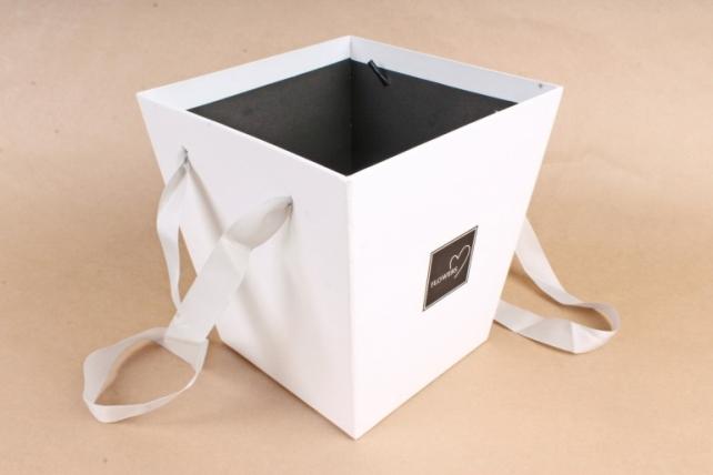 Кашпо-Коробка с ручками   белый 8356 (Н)