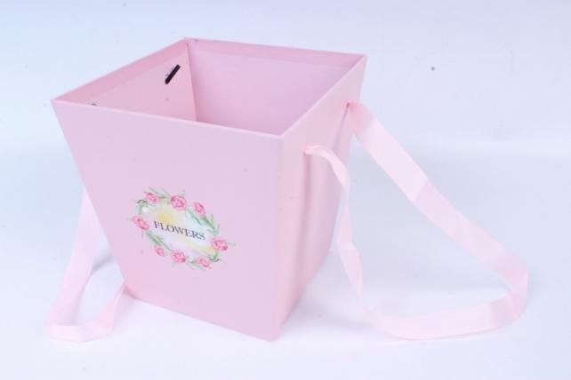 Кашпо-Коробка с ручками розовый 8370 (Н)