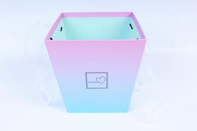 Кашпо-Коробка с ручками  тифани, переход 3522 (Н)