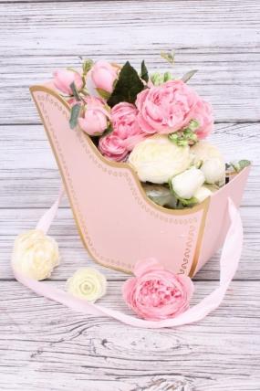Кашпо-коробка Санки розовые 13*15*9см N826