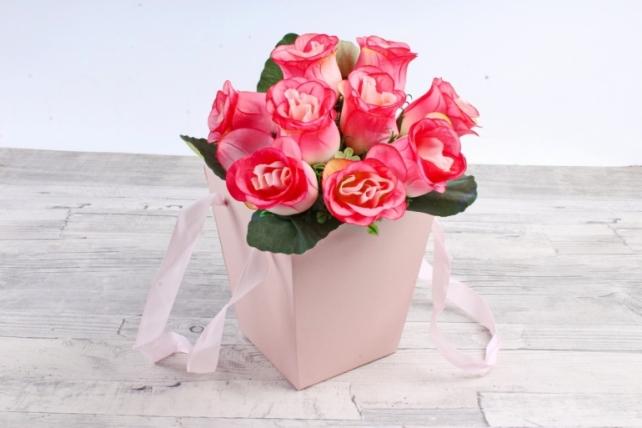 Кашпо-коробка трапеция розовая    К718
