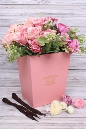 Кашпо-коробка высокое розовое 22*17 H=27см  В209