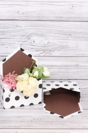 Кашпо-коробка  Конверт Белое в черный горох (2 шт в уп) 30*20*7  К8128