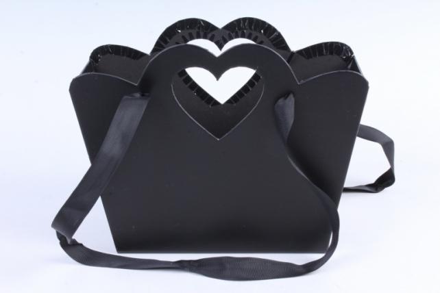 Кашпо-коробка  Сумочка с вырубкой сердечко черное