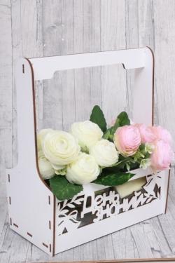 """Кашпо-ящик для цветов (Т) белый """"День знаний"""" 18*9,5 H=7.5*22 см"""