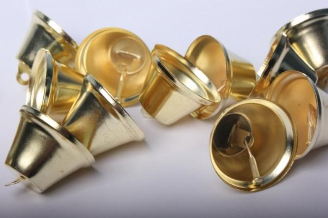 Колокольчики золотые d=3,5см  (20шт в упаковке)
