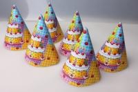 """Колпак праздничный """"Торт"""" (6шт в упаковке) К2501"""