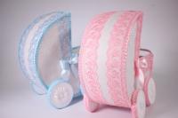 Коляски свадебные розово/голубые (девочка+мальчик) 2шт в наб. 30х30см (16)
