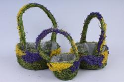 Комплект корзин из травы набор из 3-х 13915