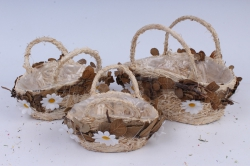Комплект корзин из травы набор из 3-х с ромашками 14223