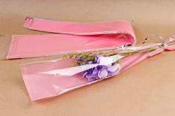 Конус под 1 розу прозр/розовый туманный (50шт в уп) 00074411