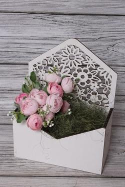 Конверт Цветы белый 18*9*10см