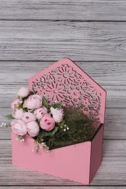 Конверт Цветы розовый 18*9*10см