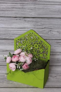 Конверт Цветы салатовый 18*9*10см