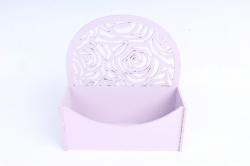 Конверт округлый с розами  МДФ 3мм, окрашен., Лаванда ПУ301-02-4343