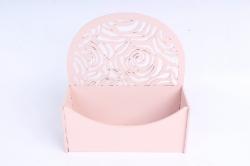Конверт округлый с розами МДФ 3мм, окрашен., Пудровый ПУ301-02-4545