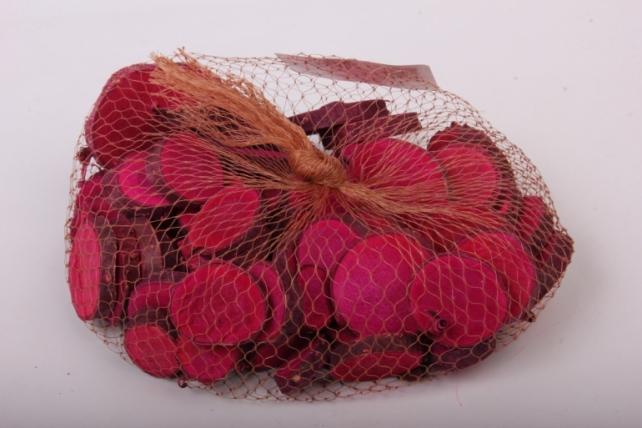 кора срез круглый малиновый в сетке