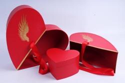 Коробка - трансформер Сердце с золотыми крыльями красное