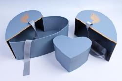 Коробка - трансформер Сердце с золотыми крыльями серо-голубое