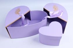 Коробка - трансформер Сердце с золотыми крыльями сиреневое