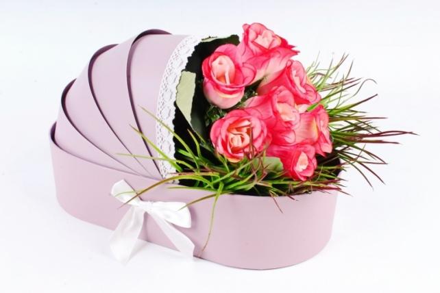 """Коробка для цветов """"Люлька"""",  сиреневый (W9295) 2946 М"""