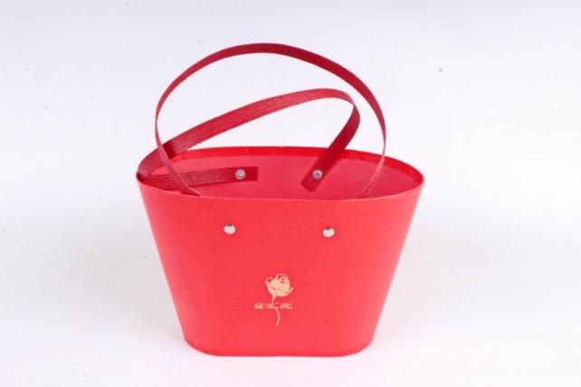 Коробка для цветов Ваза Овальная с соломенными ручками Красный 1201 М