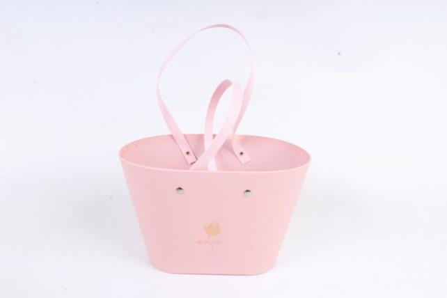 Коробка для цветов Ваза Овальная с соломенными ручками Розовый1164 М