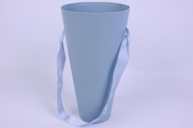 Коробка Конус для цветов голубой однотонный 16*30*9 (1шт)  9210