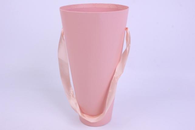 Коробка  Конус для цветов розовый однотонный 16*30*9 (1шт)  9210