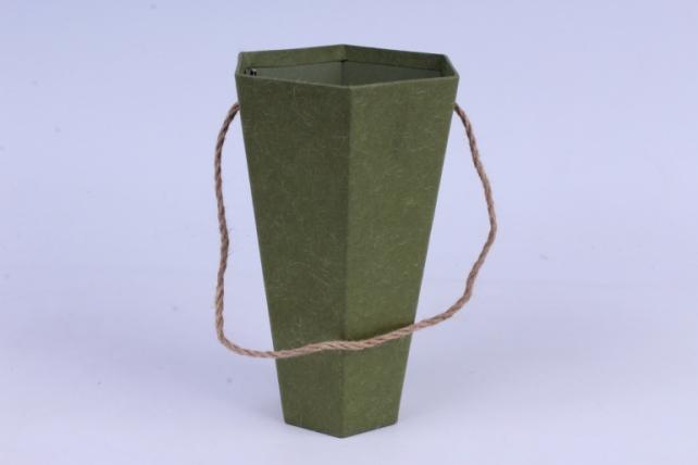 Коробка Конус шестигранный для цветов оливковый 14x12 h=22см  (1шт)  W9541 (С)