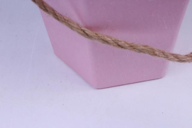 коробка конус шестигранный для цветов розовый 14x12 h=22см  (1шт)  w9542 (с)