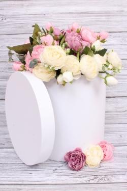 Коробка одиночная подарочная - Цилиндр Белый 25*25см 1 шт. 460000025006   Пин25/25-Б
