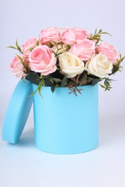 """Коробка одиночная подарочная - """"Цилиндр"""" Голубой 13,5*13,5 Пин13/13-Г"""