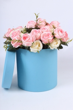 """Коробка одиночная подарочная - """"Цилиндр"""" Голубой 20*20  Пин20/20-Гол"""