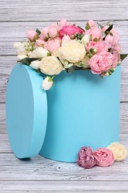 Коробка одиночная подарочная - Цилиндр Голубой 25*25см 1 шт. 460000025002  Пин25/25-Гол