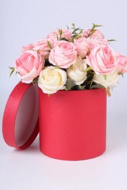 """Коробка одиночная подарочная - """"Цилиндр"""" Красный 13,5*13,5 Пин13/13-КР"""