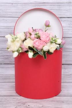 """Коробка одиночная подарочная - """"Цилиндр """"Красный"""" 25*25 Пин25/25-КР"""