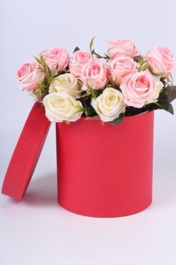 """Коробка одиночная подарочная - """"Цилиндр"""" Красный 16*16  Пин16/16-КР"""