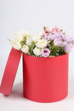 """Коробка одиночная подарочная - """"Цилиндр"""" Красный  15*15  Пин15/15-КР"""
