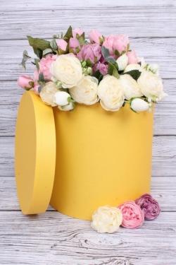 Коробка одиночная подарочная - Цилиндр Лимон 25*25см 1 шт. 460000025008  Пин25/25-Лим