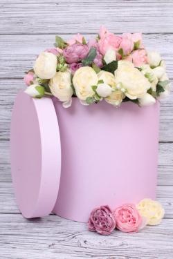 Коробка одиночная подарочная - Цилиндр Розовый 25*25см 1 шт. 460000025003  Пин25/25-Роз
