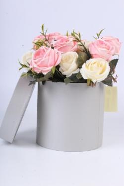"Коробка одиночная подарочная - ""Цилиндр"" Серебро  15*15  Пин15/15-С"