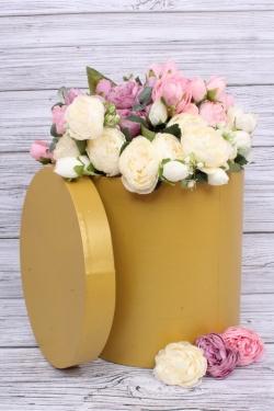 Коробка одиночная подарочная - Цилиндр Золото 25*25см 1 шт. 460000025004  Пин25/25-Зол