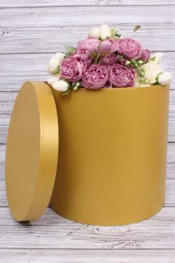 Коробка одиночная подарочная - Цилиндр Золото 30*30см 1 шт. Пин30/30-Зол
