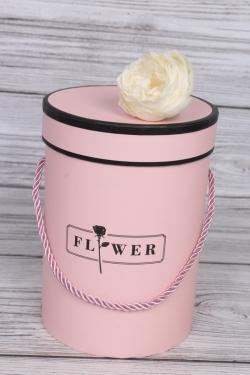 Коробка одиночная подарочная 1шт - Цилиндр с розой розовый d=13, h=19см  В736