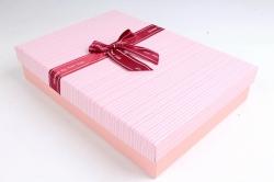 Коробка одиночная подарочная 1шт - Прямоугольник под рубашку розовый   S599