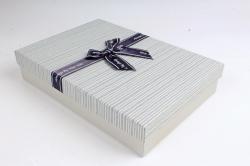 Коробка одиночная подарочная 1шт - Прямоугольник под рубашку серый  S599