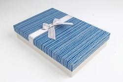 Коробка одиночная подарочная 1шт - Прямоугольник под рубашку синий   S599