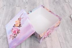 Коробка одиночная подарочная 1шт- Квадрат Цветы 22*22*12см 1шт 460000071049