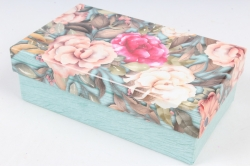 Коробка одиночная подарочная 1шт- Прямоугольник Цветы 13,5*8*4,5см 600000100901 М